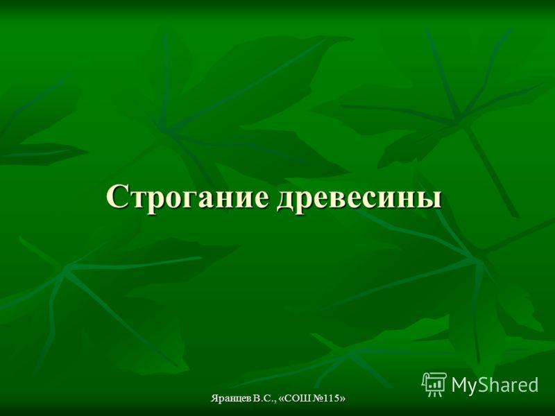 Яранцев В.С., «СОШ 115» Строгание древесины