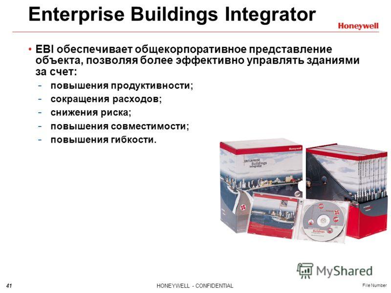 41HONEYWELL - CONFIDENTIAL File Number Enterprise Buildings Integrator EBI обеспечивает общекорпоративное представление объекта, позволяя более эффективно управлять зданиями за счет: - повышения продуктивности; - сокращения расходов; - снижения риска