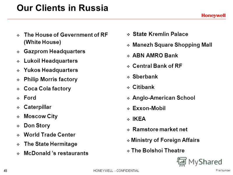 45HONEYWELL - CONFIDENTIAL File Number The House of Gevernment of RF (White House) Gazprom Headquarters Lukoil Headquarters Yukos Headquarters Philip Morris factory Coca Cola factory Ford Caterpillar Moscow City Don Story World Trade Center The State