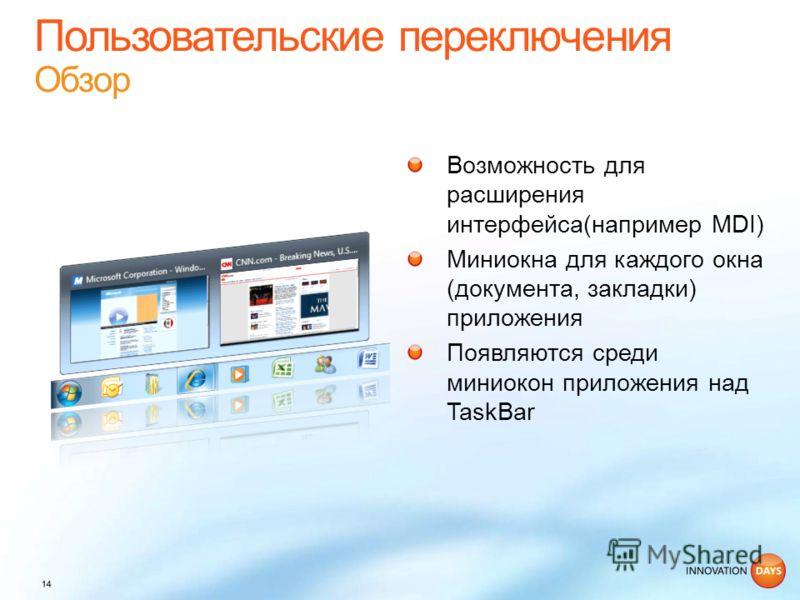 Возможность для расширения интерфейса(например MDI) Миниокна для каждого окна (документа, закладки) приложения Появляются среди миниокон приложения над TaskBar