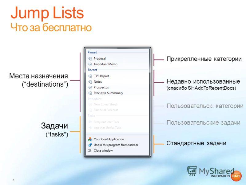 Пользовательск. категории Места назначения (destinations) Задачи (tasks) Пользовательские задачи Стандартные задачи Недавно использованные (спасибо SHAddToRecentDocs) Прикрепленные категории
