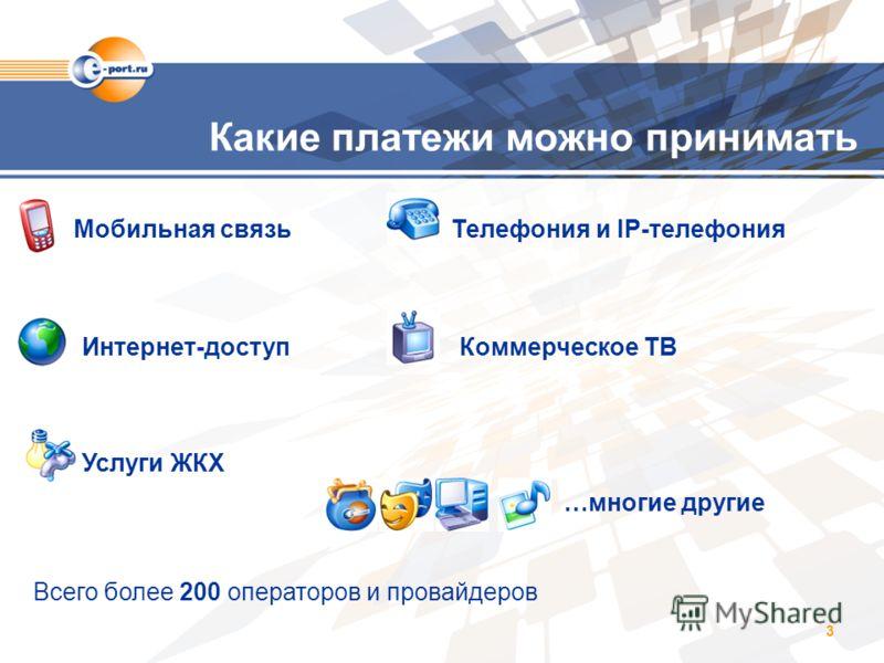 3 Какие платежи можно принимать Мобильная связь Телефония и IP-телефония Интернет-доступ Коммерческое ТВ Услуги ЖКХ …многие другие Всего более 200 операторов и провайдеров