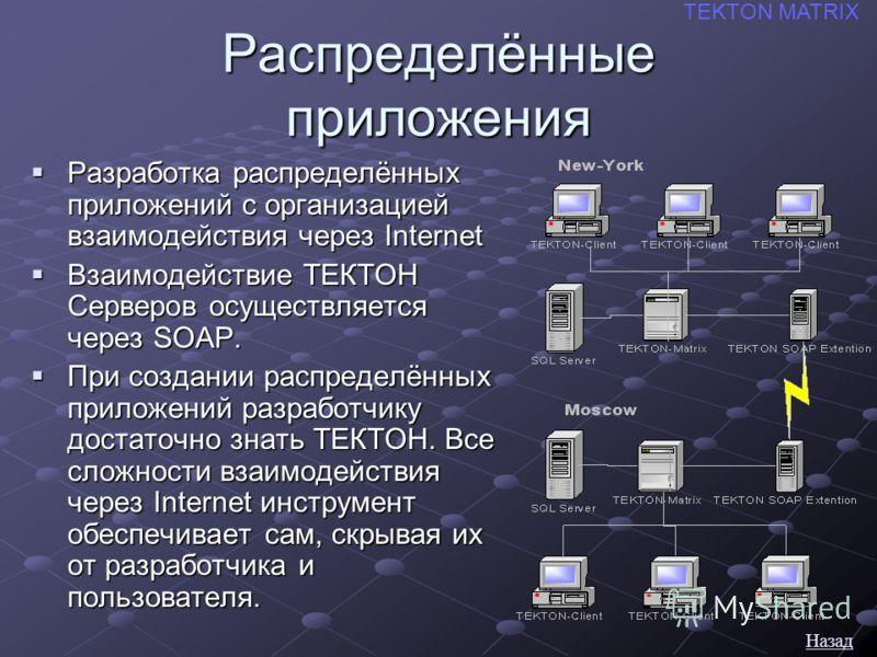 Распределённые приложения Разработка распределённых приложений с организацией взаимодействия через Internet Разработка распределённых приложений с организацией взаимодействия через Internet Взаимодействие ТЕКТОН Серверов осуществляется через SOAP. Вз