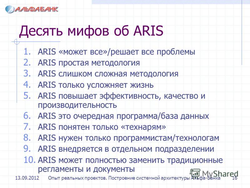 13.09.2012Опыт реальных проектов. Построение системной архитектуры Альфа-Банка16 Десять мифов об ARIS 1. ARIS «может все»/решает все проблемы 2. ARIS простая методология 3. ARIS слишком сложная методология 4. ARIS только усложняет жизнь 5. ARIS повыш