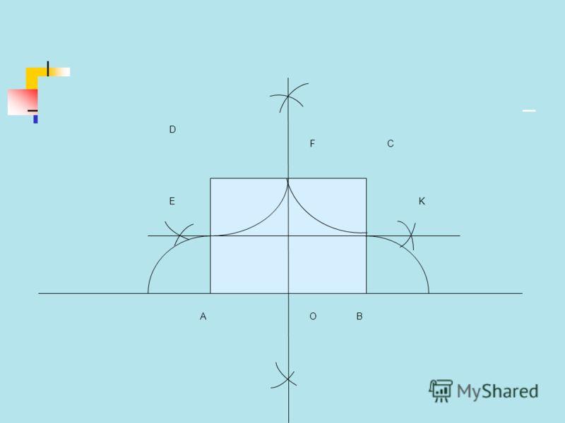 План построения. ABCD квадрат. Точки E, F, K, O середины AD, DC, CB, AB. Окр. (т.А;). Окр. (т.В;). Окр. (т.С;). Окр. (т.D;).