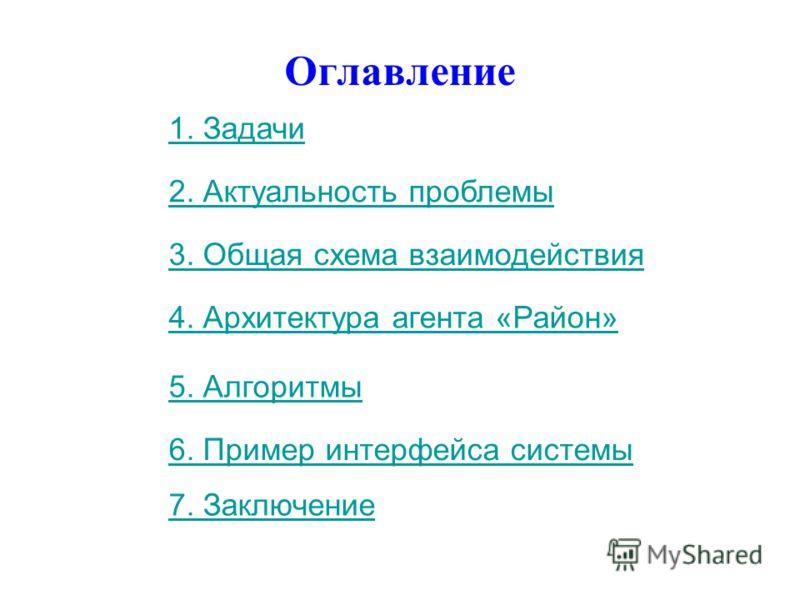 1. Задачи 2. Актуальность проблемы 3. Общая схема взаимодействия 4. Архитектура агента «Район» 5. Алгоритмы 6. Пример интерфейса системы Оглавление 7. Заключение