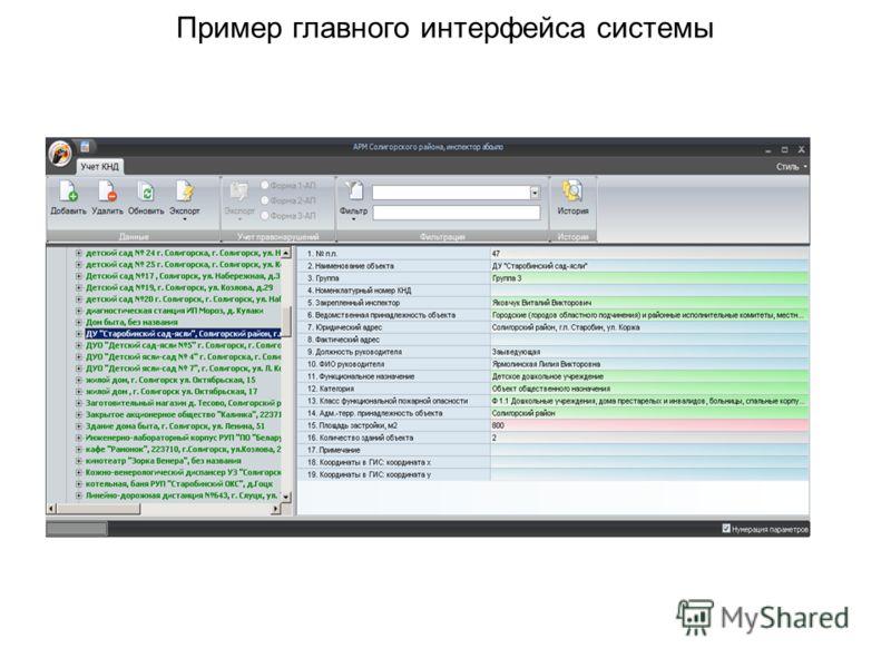 Пример главного интерфейса системы