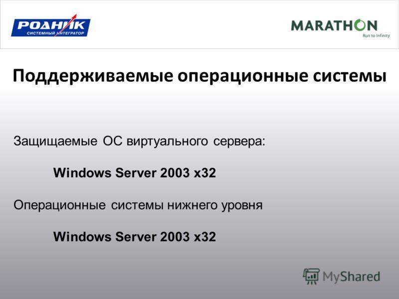 Поддерживаемые операционные системы Защищаемые ОС виртуального сервера: Windows Server 2003 x32 Операционные системы нижнего уровня Windows Server 2003 x32