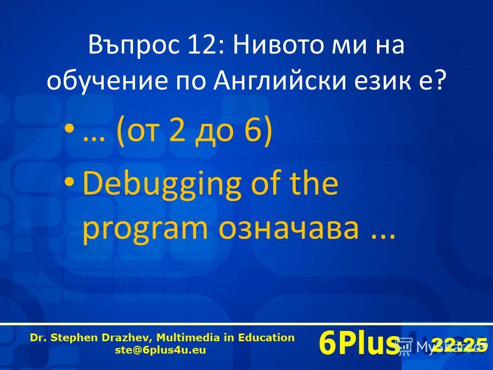 22:25 Въпрос 12: Нивото ми на обучение по Английски език е? … (от 2 до 6) Debugging of the program означава... 30