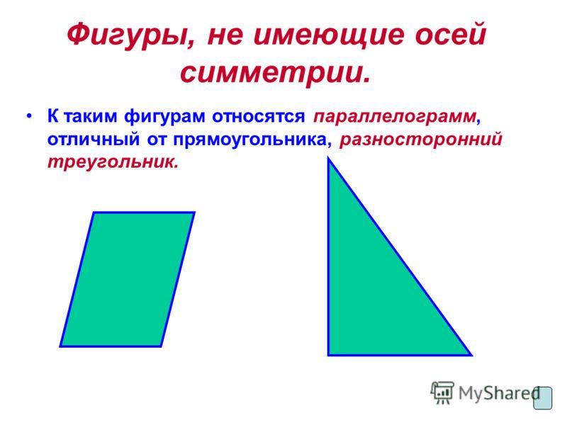Фигуры, не имеющие осей симметрии. К таким фигурам относятся параллелограмм, отличный от прямоугольника, разносторонний треугольник.