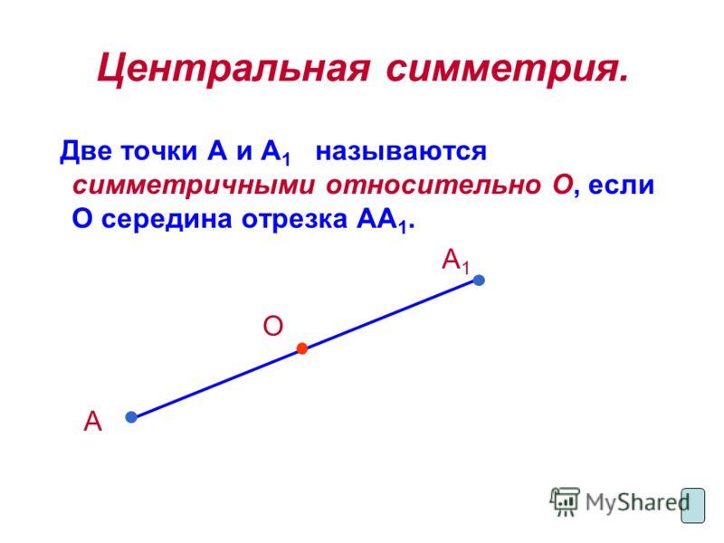 Центральная симметрия. Две точки А и А 1 называются симметричными относительно О, если О середина отрезка АА 1. А 1 О А