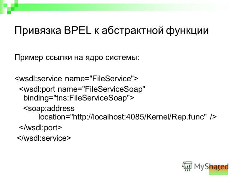 14 Привязка BPEL к абстрактной функции Пример ссылки на ядро системы: