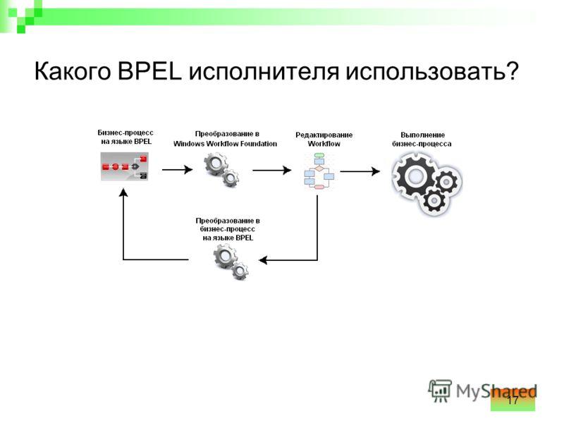 17 Какого BPEL исполнителя использовать?