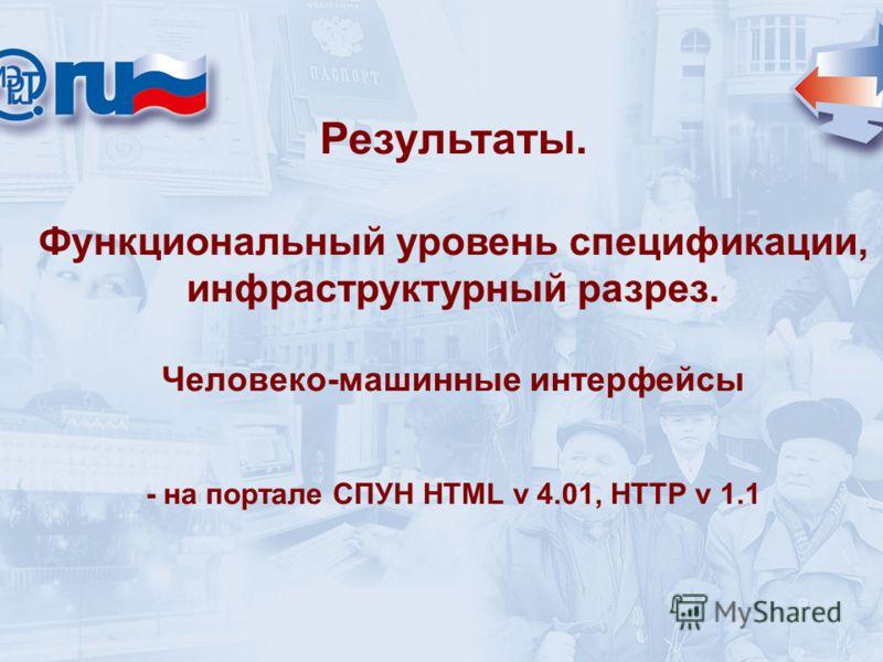 Результаты. Функциональный уровень спецификации, инфраструктурный разрез. Человеко-машинные интерфейсы - на портале СПУН HTML v 4.01, HTTP v 1.1