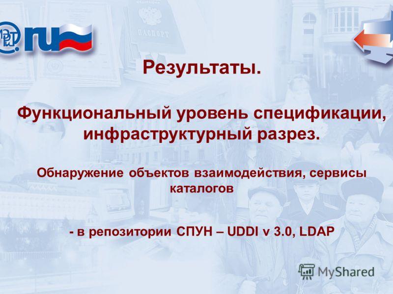 Результаты. Функциональный уровень спецификации, инфраструктурный разрез. Обнаружение объектов взаимодействия, сервисы каталогов - в репозитории СПУН – UDDI v 3.0, LDAP