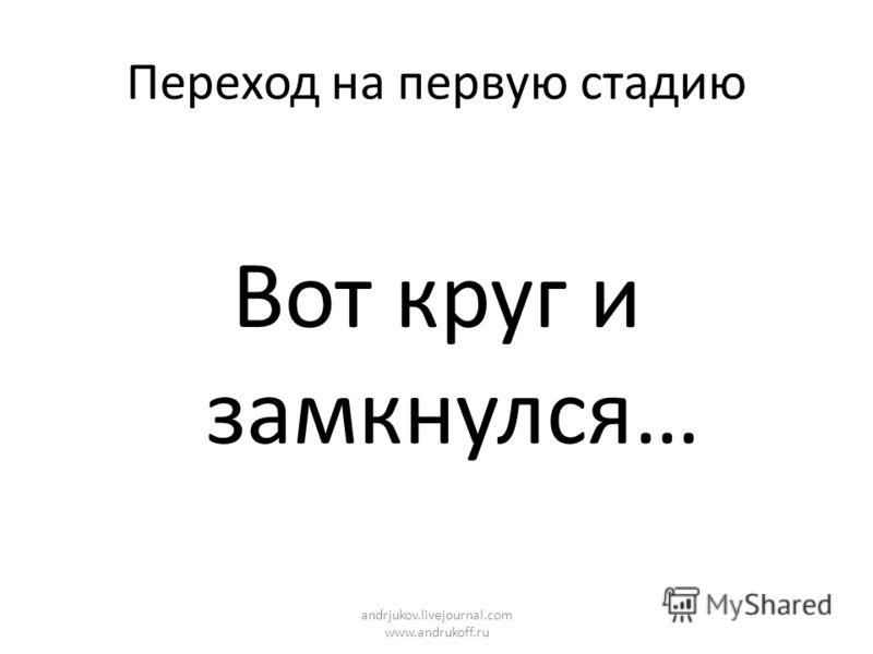 Переход на первую стадию Вот круг и замкнулся… andrjukov.livejournal.com www.andrukoff.ru
