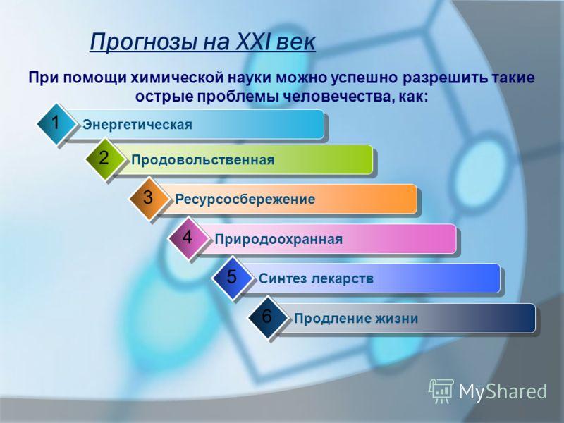 Прогнозы на XXI век При помощи химической науки можно успешно разрешить такие острые проблемы человечества, как: Энергетическая 1 Продовольственная 2 Ресурсосбережение 3 Природоохранная 4 Синтез лекарств 5 Продление жизни 6