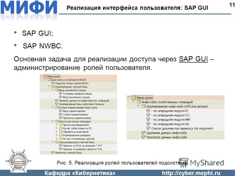 Кафедра «Кибернетика»http://cyber.mephi.ru Реализация интерфейса пользователя: SAP GUI1 SAP GUI; SAP NWBC. Основная задача для реализации доступа через SAP GUI – администрирование ролей пользователя. Рис. 5. Реализация ролей пользователей подсистемы