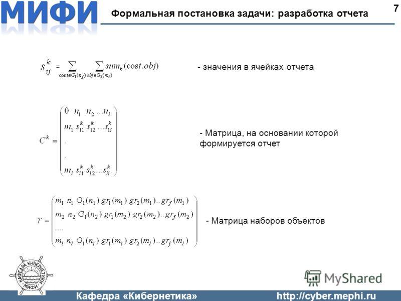 Кафедра «Кибернетика»http://cyber.mephi.ru Формальная постановка задачи: разработка отчета 7 = - значения в ячейках отчета - Матрица, на основании которой формируется отчет - Матрица наборов объектов