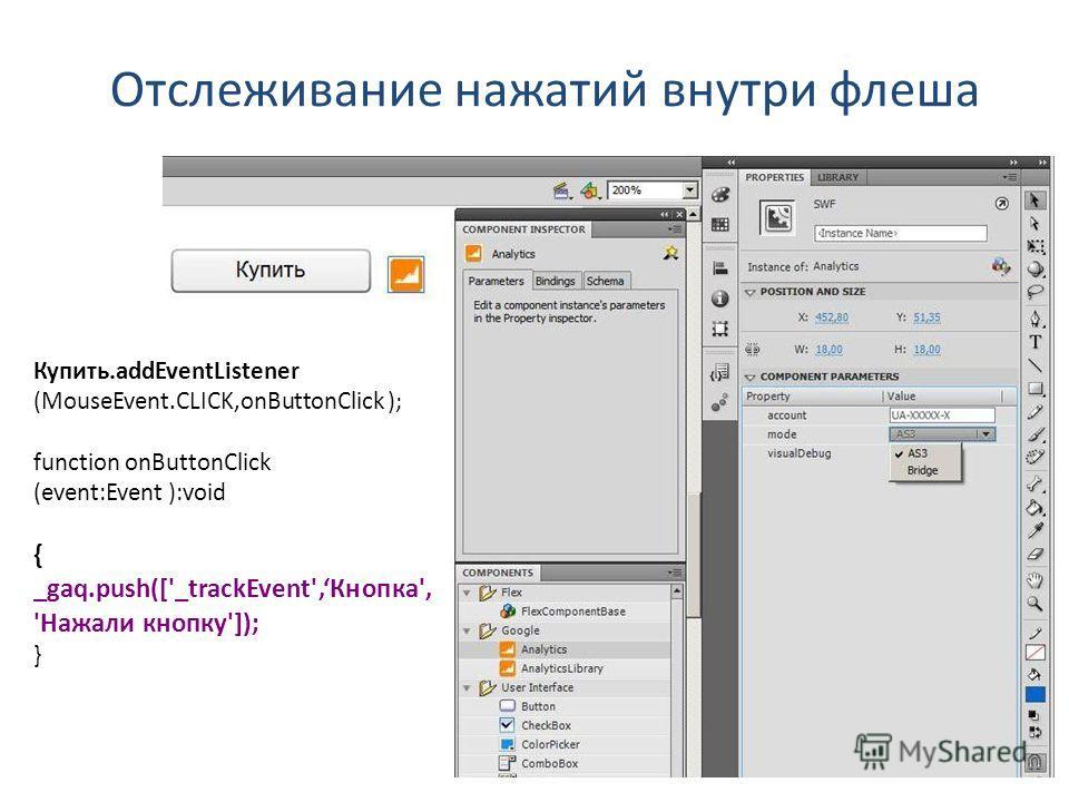 Отслеживание нажатий внутри флеша Купить.addEventListener (MouseEvent.CLICK,onButtonClick ); function onButtonClick (event:Event ):void { _gaq.push(['_trackEvent',Кнопка', 'Нажали кнопку']); }