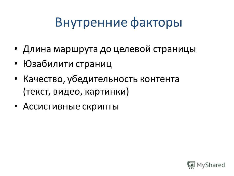 Внутренние факторы Длина маршрута до целевой страницы Юзабилити страниц Качество, убедительность контента (текст, видео, картинки) Ассистивные скрипты