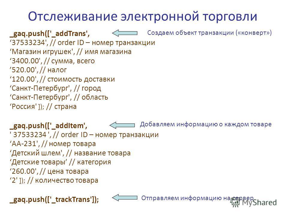 Отслеживание электронной торговли _gaq.push(['_addTrans', 37533234', // order ID – номер транзакции Магазин игрушек', // имя магазина 3400.00', // сумма, всего 520.00', // налог 120.00', // стоимость доставки Санкт-Петербург', // город Санкт-Петербур