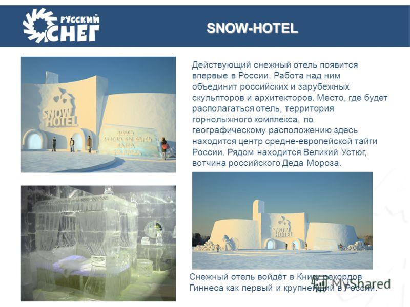 Действующий снежный отель появится впервые в России. Работа над ним объединит российских и зарубежных скульпторов и архитекторов. Место, где будет располагаться отель, территория горнолыжного комплекса, по географическому расположению здесь находится