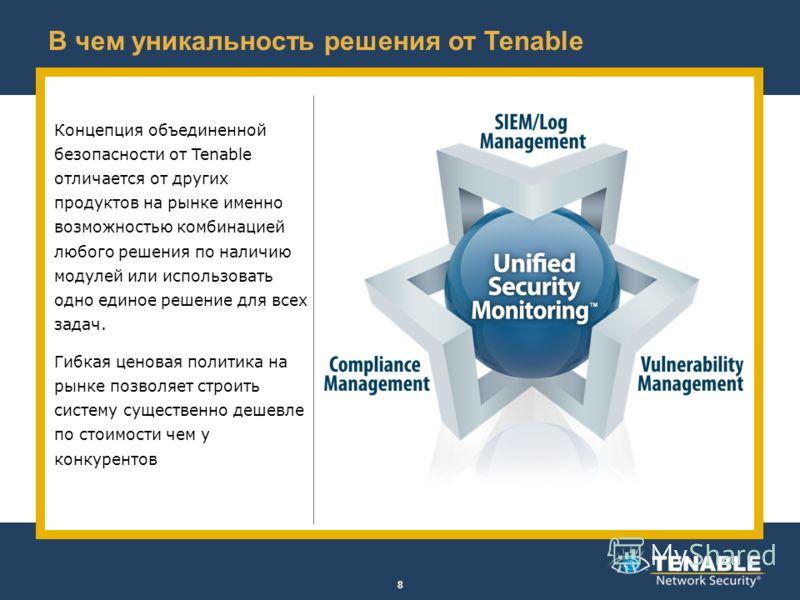 В чем уникальность решения от Tenable Концепция объединенной безопасности от Tenable отличается от других продуктов на рынке именно возможностью комбинацией любого решения по наличию модулей или использовать одно единое решение для всех задач. Гибкая