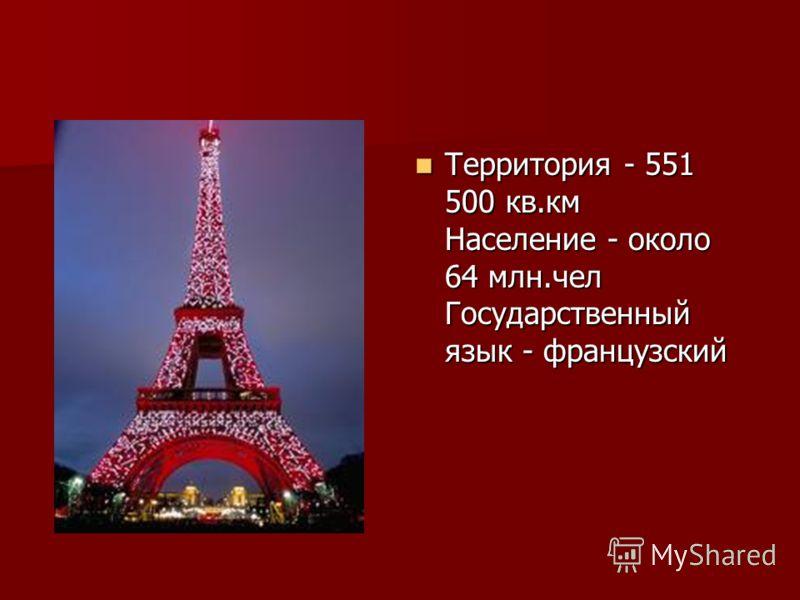 Территория - 551 500 кв.км Население - около 64 млн.чел Государственный язык - французский Территория - 551 500 кв.км Население - около 64 млн.чел Государственный язык - французский