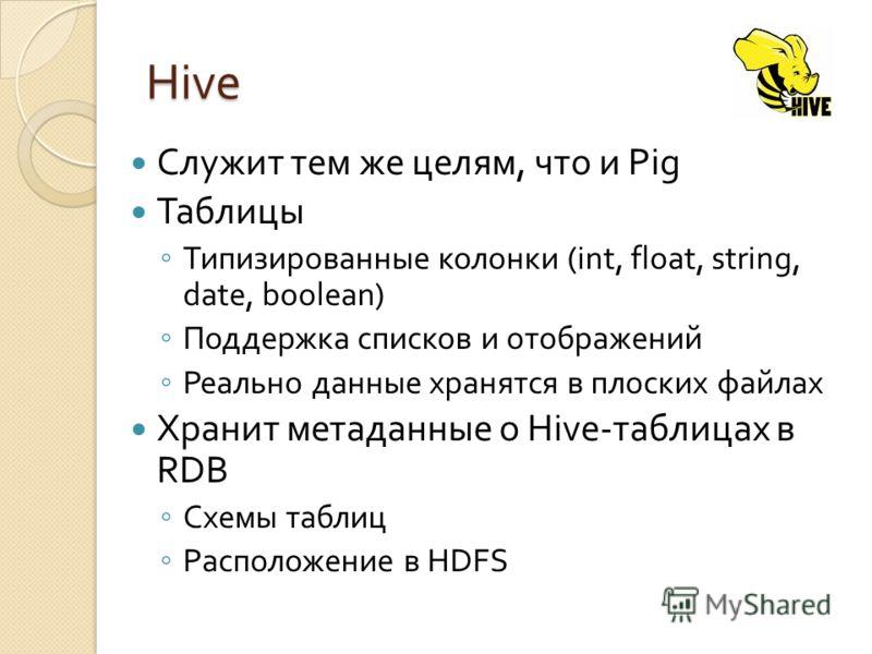 Hive Служит тем же целям, что и Pig Таблицы Типизированные колонки (int, float, string, date, boolean) Поддержка списков и отображений Реально данные хранятся в плоских файлах Хранит метаданные о Hive-таблицах в RDB Схемы таблиц Расположение в HDFS