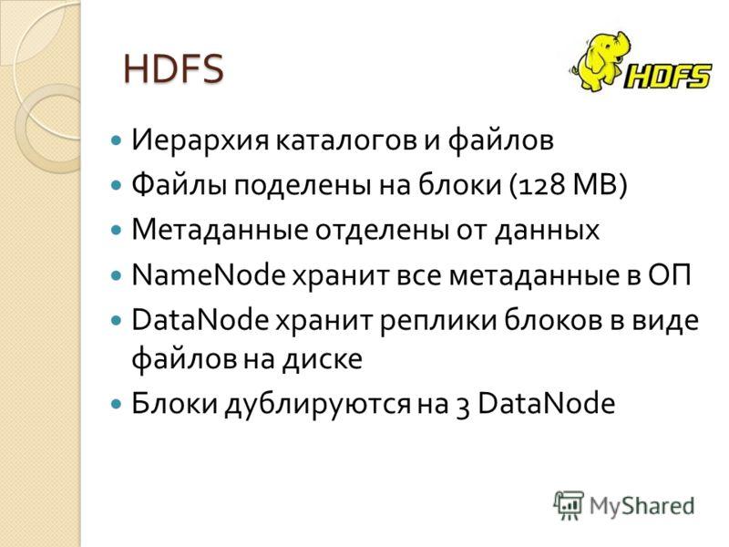 HDFS Иерархия каталогов и файлов Файлы поделены на блоки (128 MB) Метаданные отделены от данных NameNode хранит все метаданные в ОП DataNode хранит реплики блоков в виде файлов на диске Блоки дублируются на 3 DataNode