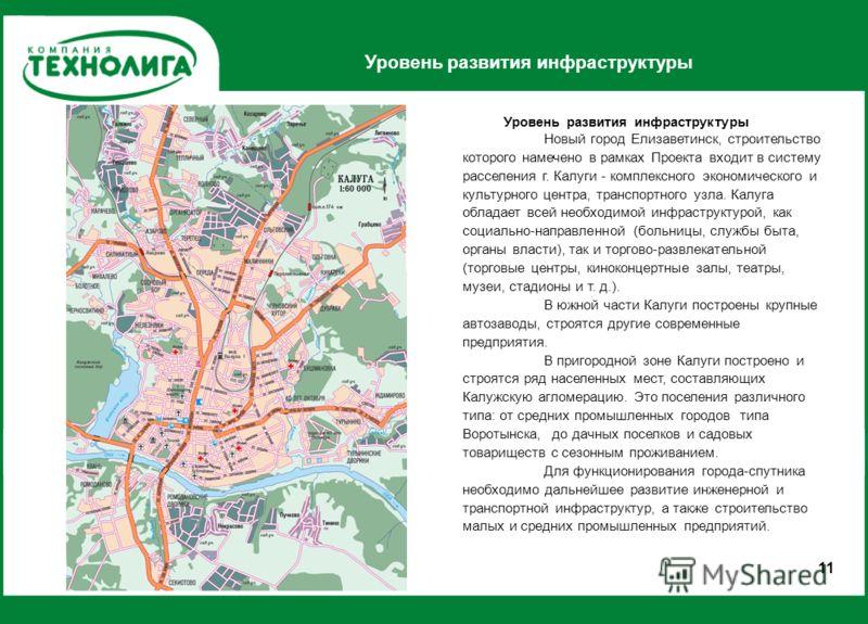 Уровень развития инфраструктуры 1 Новый город Елизаветинск, строительство которого намечено в рамках Проекта входит в систему расселения г. Калуги - комплексного экономического и культурного центра, транспортного узла. Калуга обладает всей необходимо