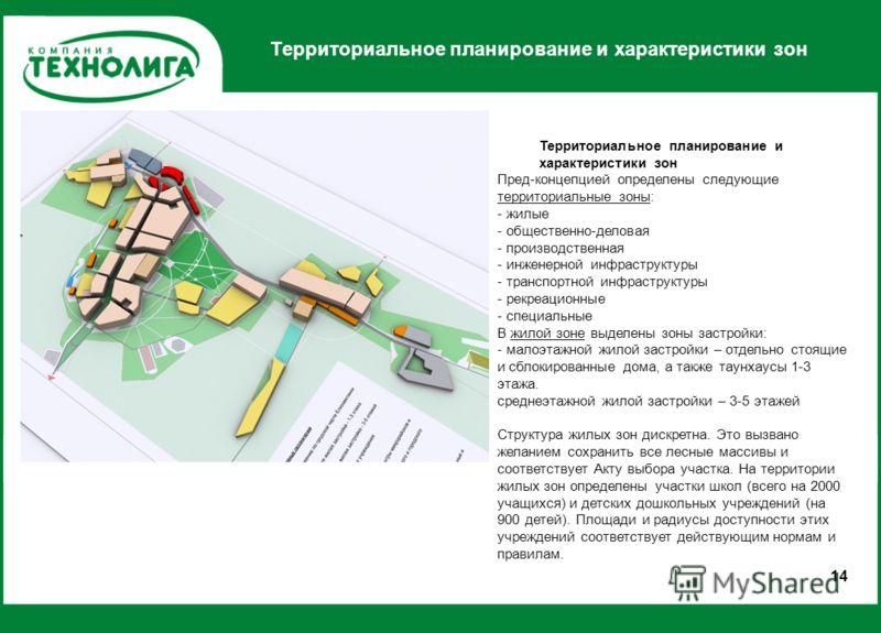 Территориальное планирование и характеристики зон 1414 Пред-концепцией определены следующие территориальные зоны: - жилые - общественно-деловая - производственная - инженерной инфраструктуры - транспортной инфраструктуры - рекреационные - специальные