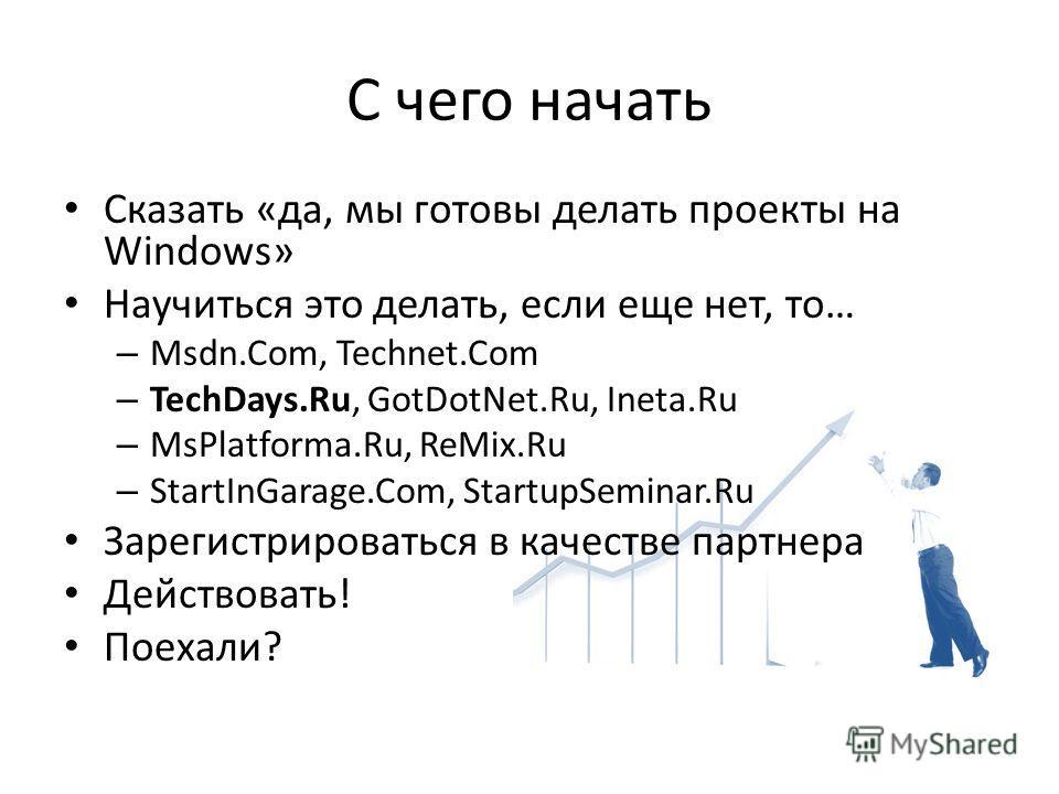 С чего начать Сказать «да, мы готовы делать проекты на Windows» Научиться это делать, если еще нет, то… – Msdn.Com, Technet.Com – TechDays.Ru, GotDotNet.Ru, Ineta.Ru – MsPlatforma.Ru, ReMix.Ru – StartInGarage.Com, StartupSeminar.Ru Зарегистрироваться