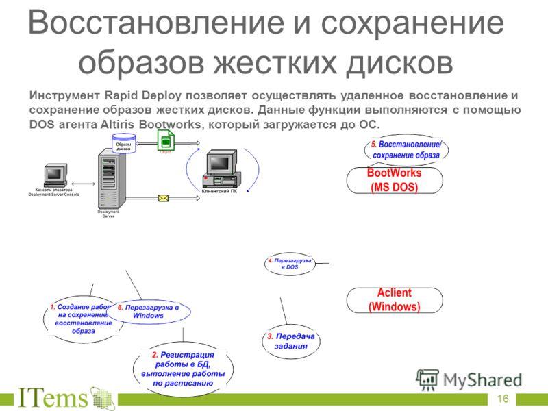 Инструмент Rapid Deploy позволяет осуществлять удаленное восстановление и сохранение образов жестких дисков. Данные функции выполняются с помощью DOS агента Altiris Bootworks, который загружается до ОС. Восстановление и сохранение образов жестких дис