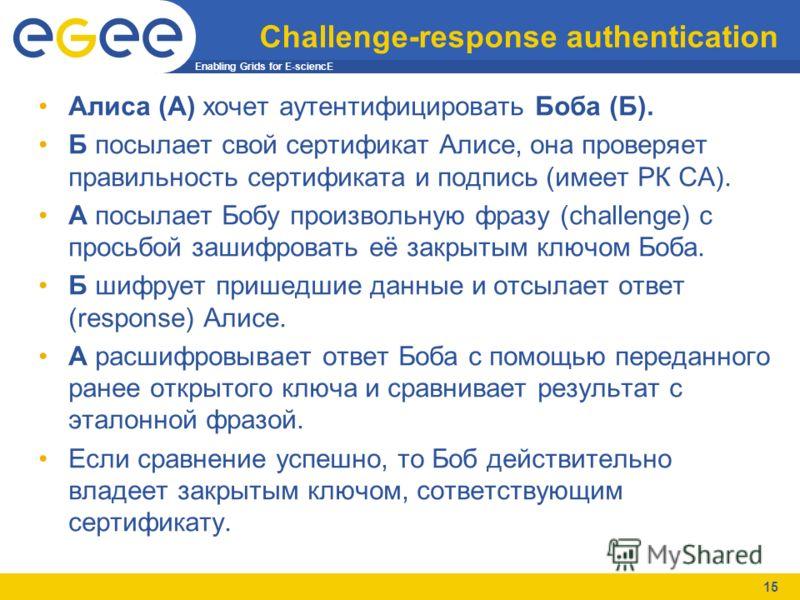 Enabling Grids for E-sciencE 15 Challenge-response authentication Алиса (А) хочет аутентифицировать Боба (Б). Б посылает свой сертификат Алисе, она проверяет правильность сертификата и подпись (имеет РК CA). А посылает Бобу произвольную фразу (challe