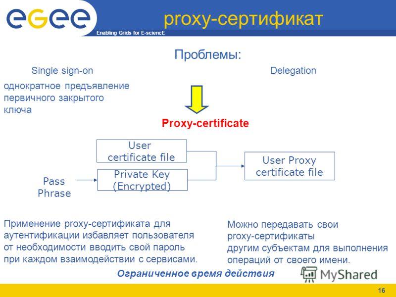 Enabling Grids for E-sciencE 16 proxy-сертификат Проблемы: Single sign-on Delegation Proxy-certificate Применение proxy-сертификата для аутентификации избавляет пользователя от необходимости вводить свой пароль при каждом взаимодействии с сервисами.