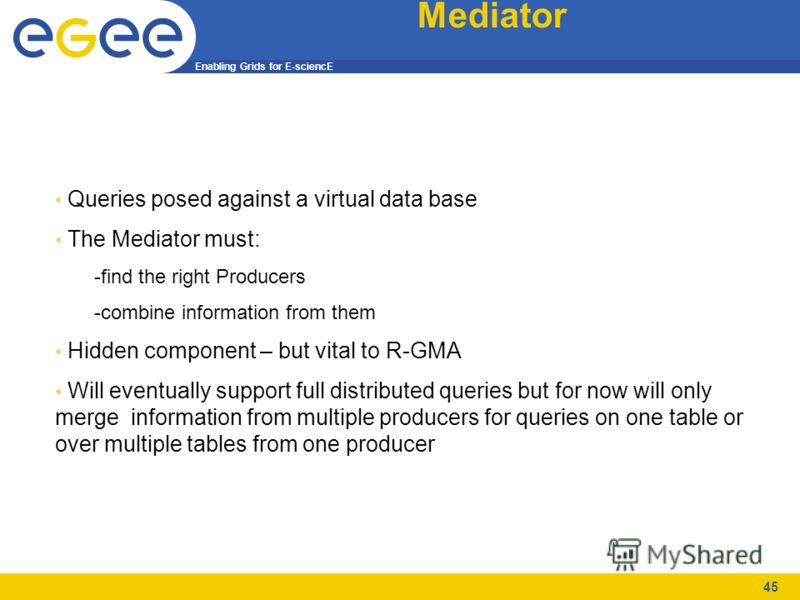 Enabling Grids for E-sciencE 45 Mediator Queries posed against a virtual data base The Mediator must: -find the right Producers -combine information from them Hidden component – but vital to R-GMA Will eventually support full distributed queries but