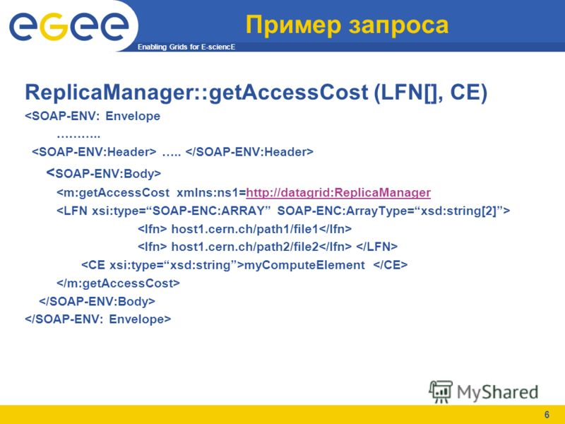Enabling Grids for E-sciencE 6 Пример запроса ReplicaManager::getAccessCost (LFN[], CE)
