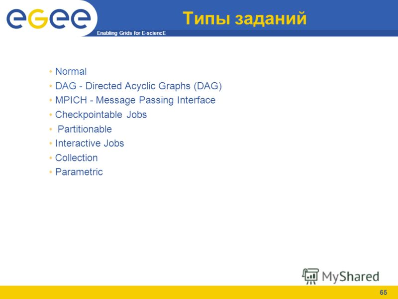 Enabling Grids for E-sciencE 65 Типы заданий Normal DAG - Directed Acyclic Graphs (DAG) MPICH - Message Passing Interface Checkpointable Jobs Partitionable Interactive Jobs Collection Parametric