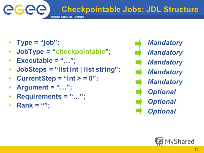 Enabling Grids for E-sciencE 70 Checkpointable Jobs: JDL Structure Type = job; JobType = checkpointable; Executable = …; JobSteps = list int | list string; CurrentStep = int > = 0; Argument = …; Requirements = …; Rank = ; Mandatory Optional
