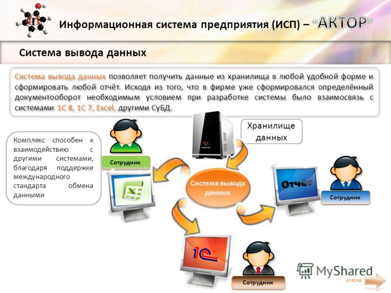 Система вывода данных вперед Система вывода данных позволяет получить данные из хранилища в любой удобной форме и сформировать любой отчёт. Исходя из того, что в фирме уже сформировался определённый документооборот необходимым условием при разработке