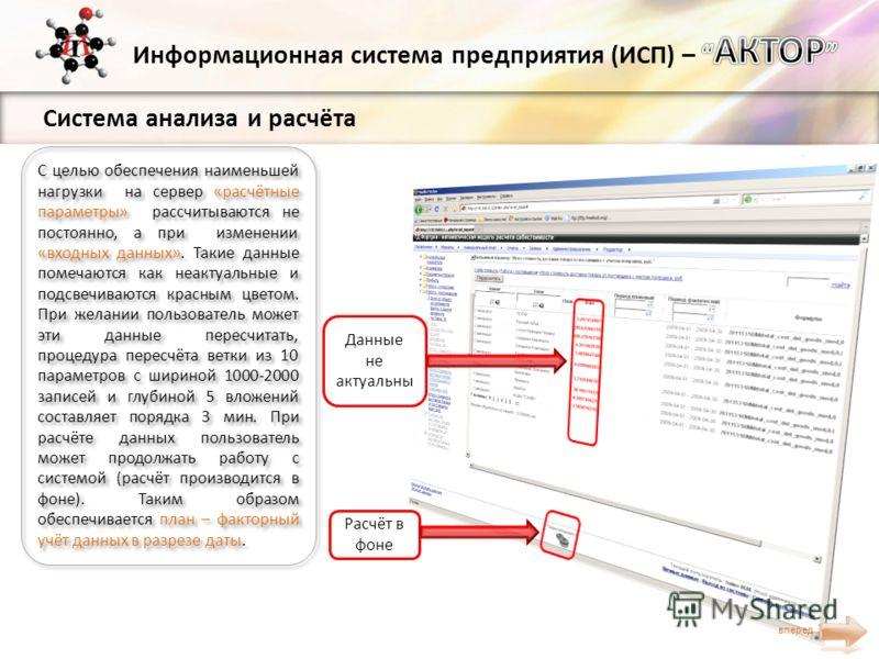Система анализа и расчёта С целью обеспечения наименьшей нагрузки на сервер «расчётные параметры» рассчитываются не постоянно, а при изменении «входных данных». Такие данные помечаются как неактуальные и подсвечиваются красным цветом. При желании пол