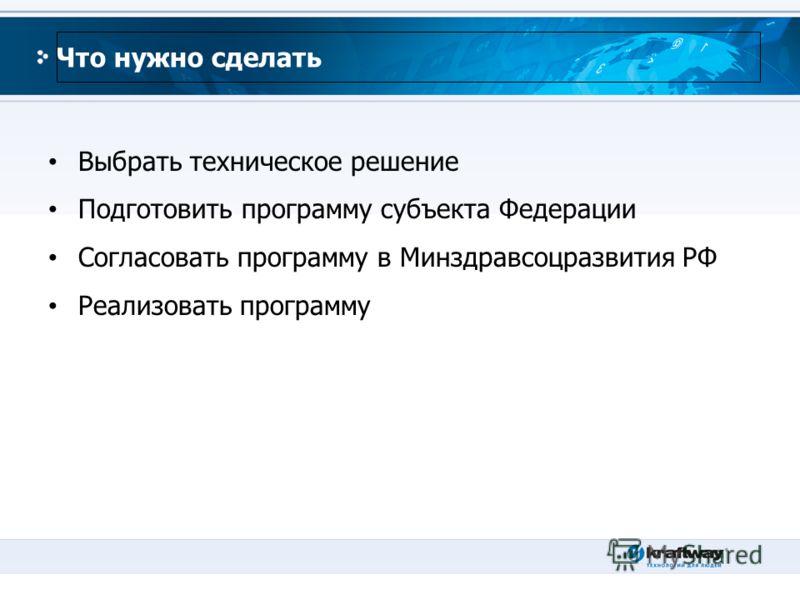 Что нужно сделать Выбрать техническое решение Подготовить программу субъекта Федерации Согласовать программу в Минздравсоцразвития РФ Реализовать программу