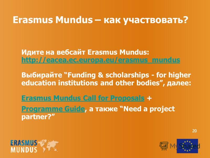 Erasmus Mundus – как участвовать? Идите на вебсайт Erasmus Mundus: http://eacea.ec.europa.eu/erasmus_mundus http://eacea.ec.europa.eu/erasmus_mundus Выбирайте Funding & scholarships - for higher education institutions and other bodies, далее: Erasmus