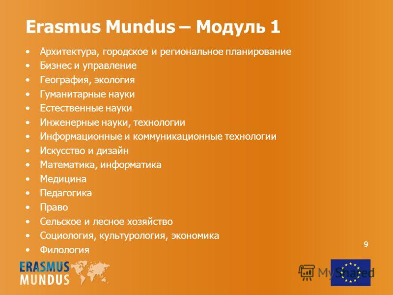 Erasmus Mundus – Модуль 1 Архитектура, городское и региональное планирование Бизнес и управление География, экология Гуманитарные науки Естественные науки Инженерные науки, технологии Информационные и коммуникационные технологии Искусство и дизайн Ма