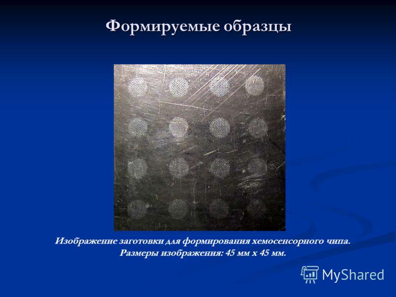 Формируемые образцы Изображение заготовки для формирования хемосенсорного чипа. Размеры изображения: 45 мм х 45 мм.
