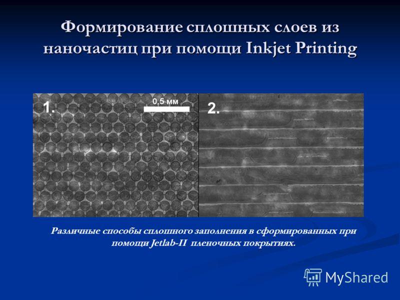 Формирование сплошных слоев из наночастиц при помощи Inkjet Printing Различные способы сплошного заполнения в сформированных при помощи Jetlab-II пленочных покрытиях.