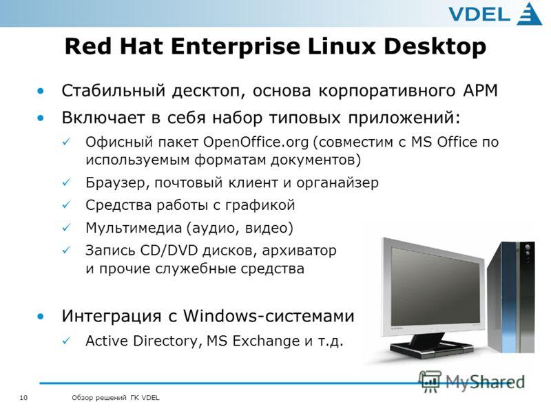 10 Обзор решений ГК VDEL Red Hat Enterprise Linux Desktop Стабильный десктоп, основа корпоративного АРМ Включает в себя набор типовых приложений: Офисный пакет OpenOffice.org (совместим с MS Office по используемым форматам документов) Браузер, почтов