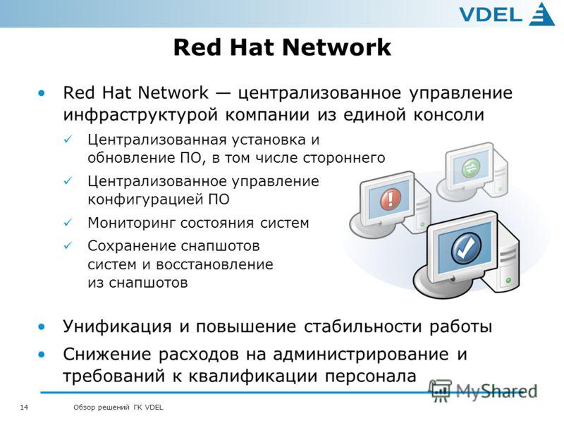 14 Обзор решений ГК VDEL Red Hat Network Red Hat Network централизованное управление инфраструктурой компании из единой консоли Централизованная установка и обновление ПО, в том числе стороннего Централизованное управление конфигурацией ПО Мониторинг